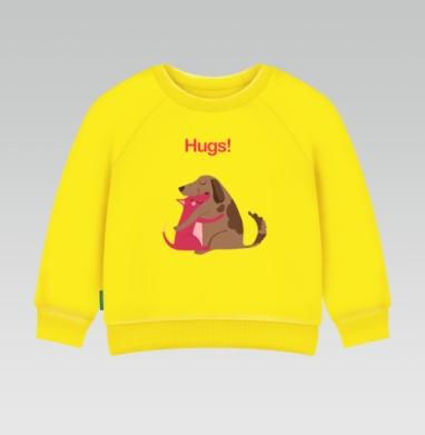Собаки-Обнимаки, Cвитшот Детский желтый 240гр, тонкая