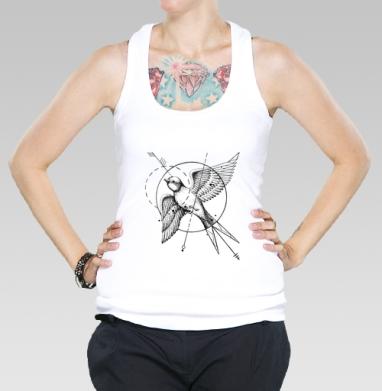 Ласточка в стиле тату, Борцовка женская белая рибана 200гр