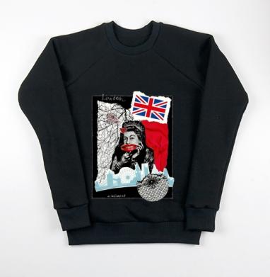 LONDONQUEEN, Свитшот мужской черный 340гр, теплый