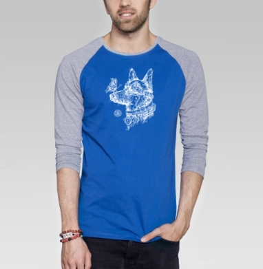Пес-путешественник во времени - Футболка мужская с длинным рукавом синий / серый меланж, бабочки, Популярные