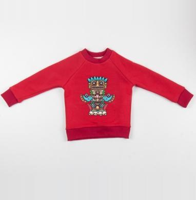 Cвитшот Детский красный 340гр, теплый - Тотемы