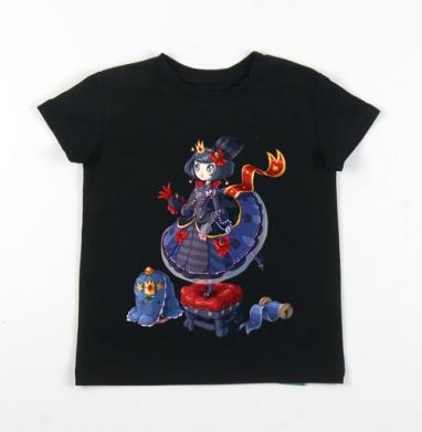 Детская футболка черная хлопок с лайкрой 140гр - Блу Лолли Принцесса