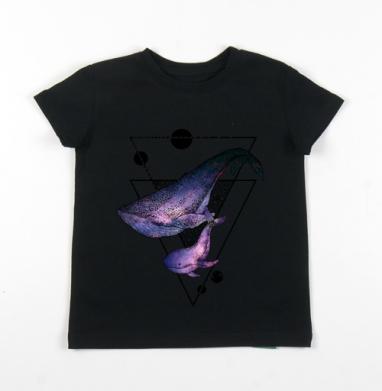 Детская футболка черная хлопок с лайкрой 140гр - Китовая песня