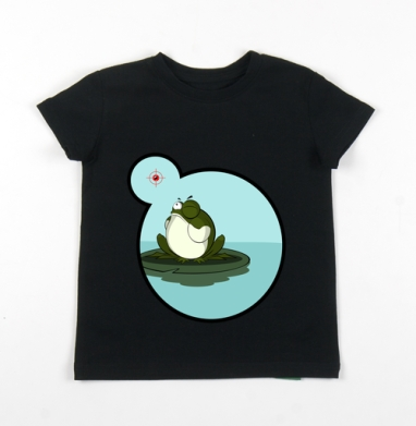 Детская футболка черная хлопок с лайкрой 140гр - Лягушка снайпер