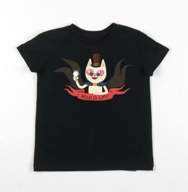 Детская футболка черная хлопок с лайкрой 140гр - Молочный вампирчик