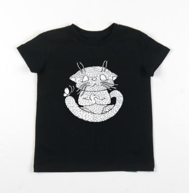 Детская футболка черная хлопок с лайкрой 140гр - Не кипешуй
