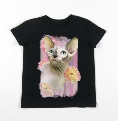 Детская футболка черная хлопок с лайкрой 140гр - Сфинкс с розами.