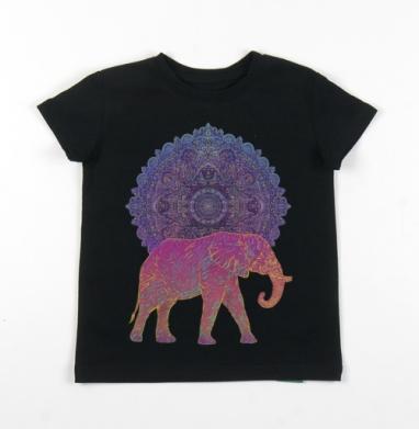 Детская футболка черная хлопок с лайкрой 140гр - Слон и солнце