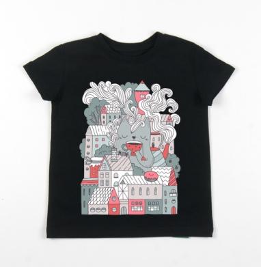 Детская футболка черная хлопок с лайкрой 140гр - Таун типати