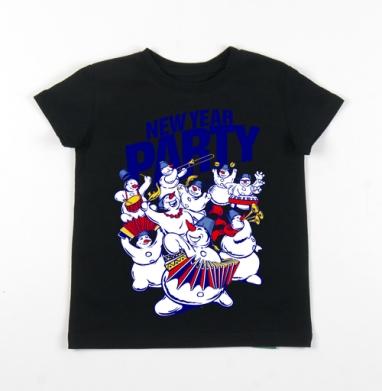 Детская футболка черная хлопок с лайкрой 140гр - Веселится и ликует весь народ