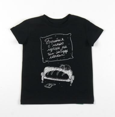 Детская футболка черная хлопок с лайкрой 140гр - Батон