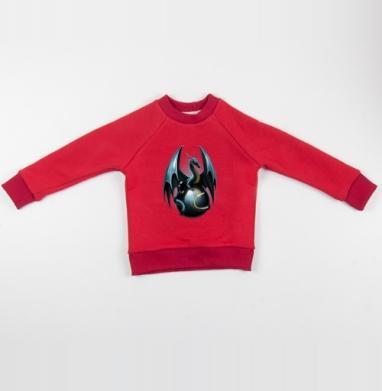 Дракон на стеклянном шаре - Cвитшот Детский красный 340гр, теплый, Популярные