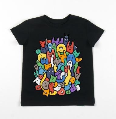 Детская футболка черная хлопок с лайкрой 140гр - Клубящиеся мысли - часть два