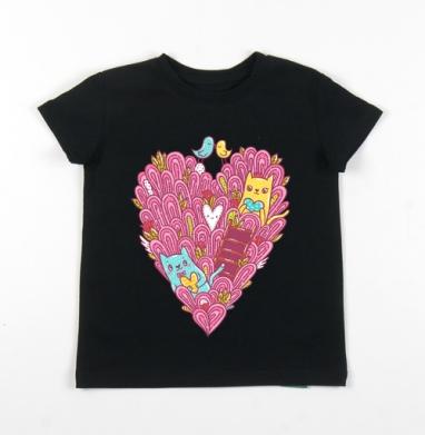 Детская футболка черная хлопок с лайкрой 140гр - Котиколюбовь