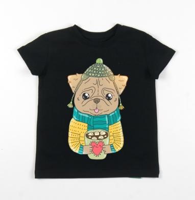 Детская футболка черная хлопок с лайкрой 140гр - Мопсик