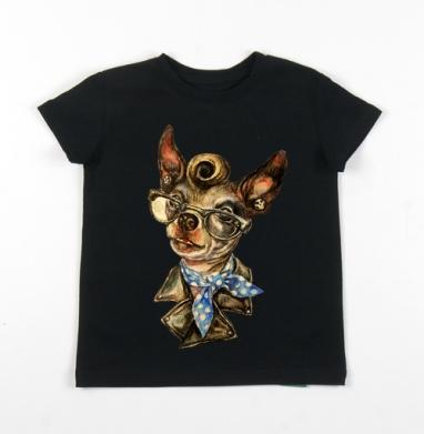 Детская футболка черная хлопок с лайкрой 140гр - Рокабилли собачушка