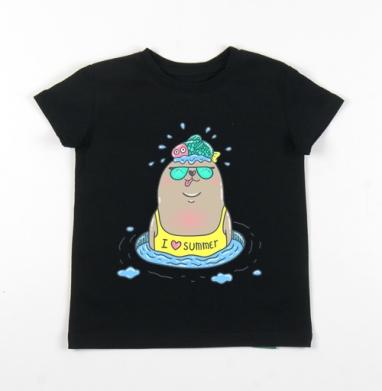 Детская футболка черная хлопок с лайкрой 140гр - Тюлеша