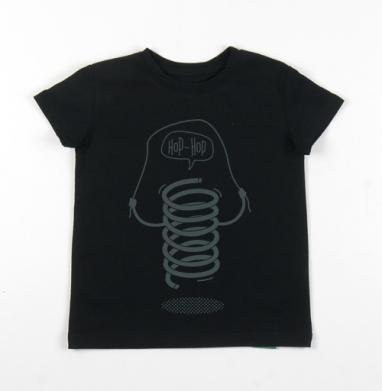Детская футболка черная хлопок с лайкрой 140гр -  ХОП-ХОП