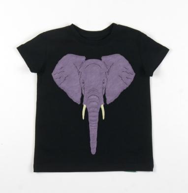 Детская футболка черная хлопок с лайкрой 140гр - Angry Elephant
