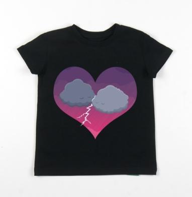 Детская футболка черная хлопок с лайкрой 140гр - Грозовая любовь