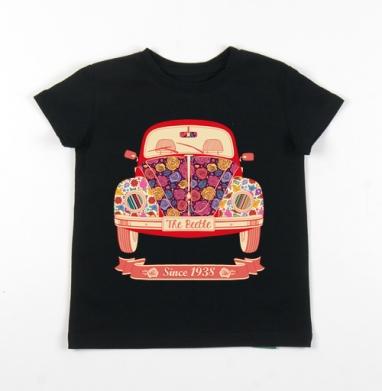 Детская футболка черная хлопок с лайкрой 140гр - Жук в цветах