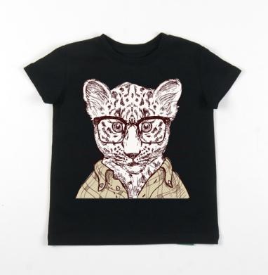 Детская футболка черная хлопок с лайкрой 140гр - Hipster wild