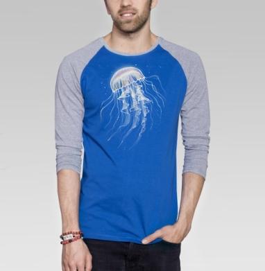 Медуза батик - Футболка мужская с длинным рукавом синий / серый меланж, Графика