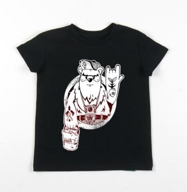 Детская футболка черная хлопок с лайкрой 140гр - Mishka