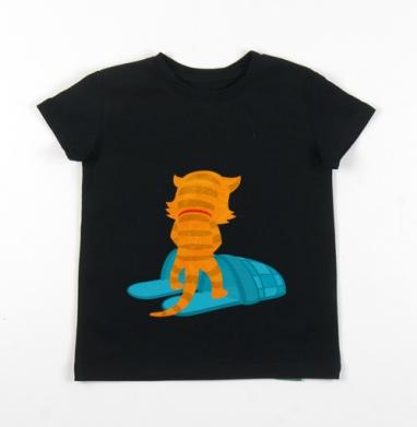 Детская футболка черная хлопок с лайкрой 140гр - Ничего личного