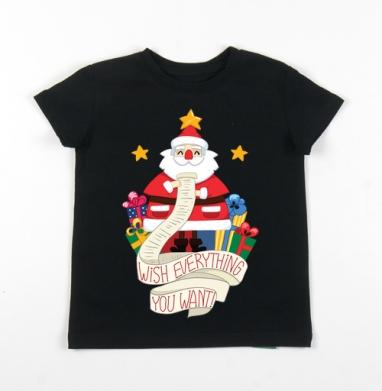 Детская футболка черная хлопок с лайкрой 140гр - Santa