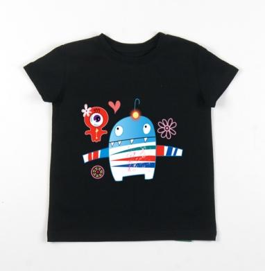 Детская футболка черная хлопок с лайкрой 140гр - Влюблённые монстрики