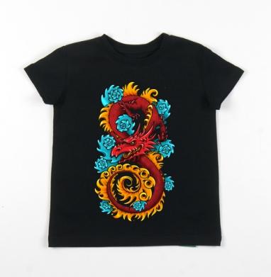 Детская футболка черная хлопок с лайкрой 140гр - Дракон