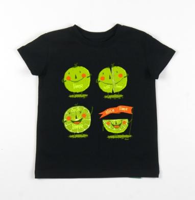 Детская футболка черная хлопок с лайкрой 140гр - Эмоции лайма