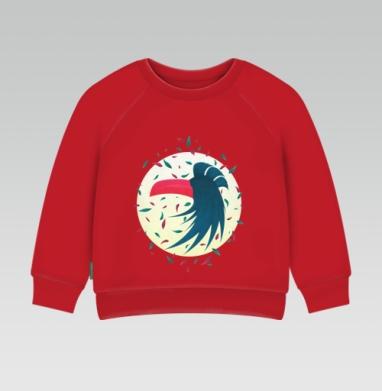 Cвитшот Детский ярко-красный 240гр, тонкий - Ночная птица