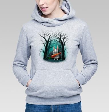 Кролик с морковкой, Толстовка Женская серый меланж 340гр, теплая