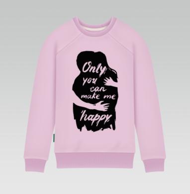 Cвитшот женский розовый удлиненный 340гр, теплый - Only you can make me happy