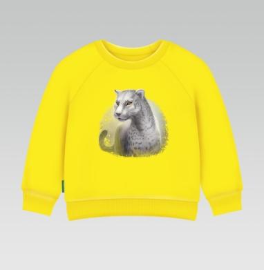 Серый леопард, Cвитшот Детский желтый 240гр, тонкая