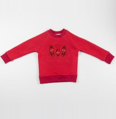 Cвитшот Детский красный 340гр, теплый -  Веселые обезьянки