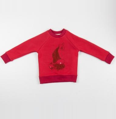 Cвитшот Детский красный 340гр, теплый - Чашка моря ....