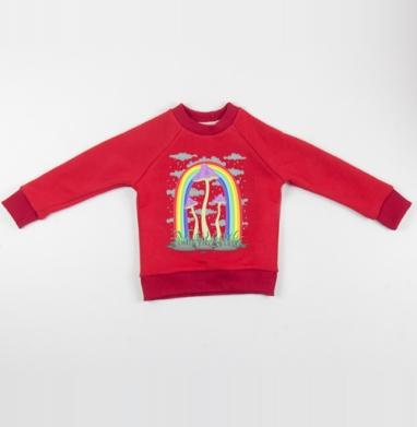Cвитшот Детский красный 340гр, теплый - Cheerful Mushrooms