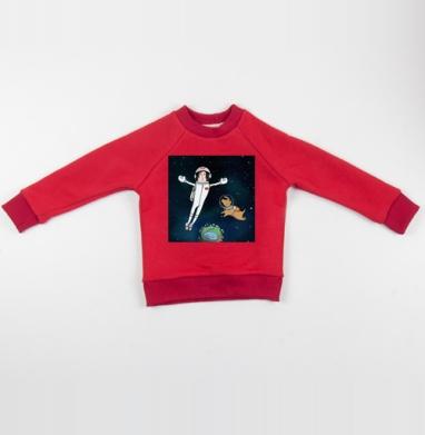 Cвитшот Детский красный 340гр, теплый - Космос