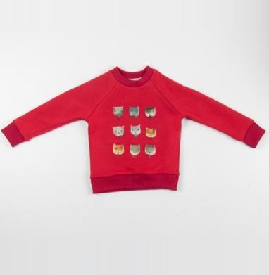 Котитки девять - Cвитшот Детский красный 340гр, теплый, Популярные