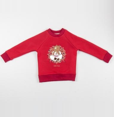 Медвежья йога  - Cвитшот Детский красный 340гр, теплый, Популярные