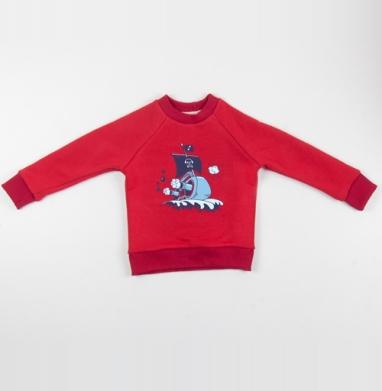Cвитшот Детский красный 340гр, теплый - Музыкальный корабль
