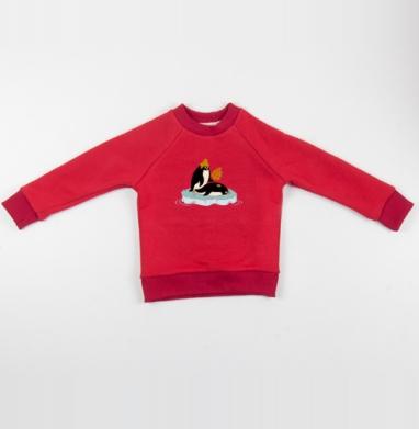 Cвитшот Детский красный 340гр, теплый - С ЛЕГКИМ ПАРОМ