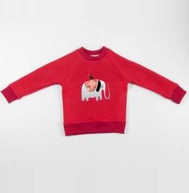 Cвитшот Детский красный 340гр, теплый - Узор из влюблённых слоников