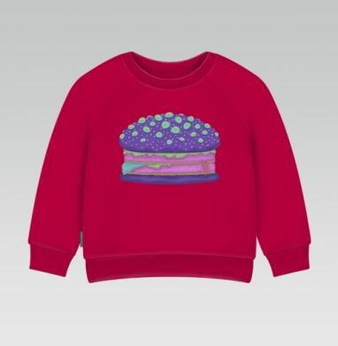 Cвитшот Детский темно-красный 340гр, теплый - Инопланетный бургер