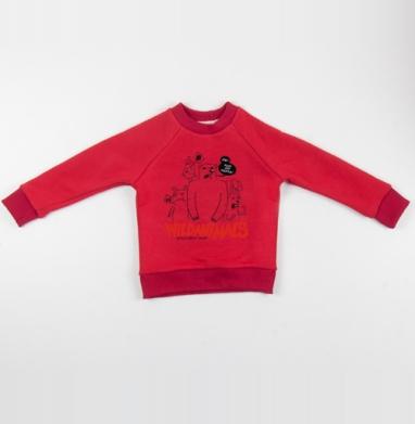 Cвитшот Детский красный 340гр, теплый - Wild animals