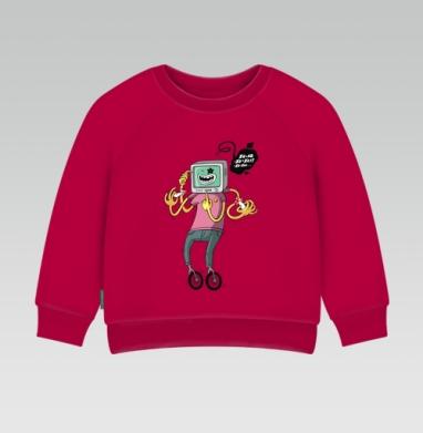 Cвитшот Детский темно-красный 340гр, теплый - Xa-xa-xa
