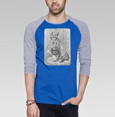 Лиса демон - Футболка мужская с длинным рукавом синий / серый меланж, Иллюстация